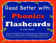 This packet contains color-coded flashcards to help teach phonics patterns.  The reason I color-code them is because many of my struggling readers just see a row of letters when they read words.  When the students cant see the phonics patterns in words or when they try to sound out letters that work with other letters to make a single sound, they struggle to decode the words.