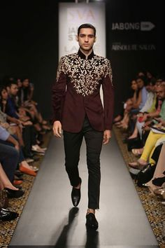 "Designer duo Sonam & Paras Modi wowed the audience with their original collection ""Maestro"" inspired by Spanish Matador at Lakme Fashion Week Winter Festive 2014. Read more about Lakme Fashion Week on my blog - http://bigfatasianwedding.com/"