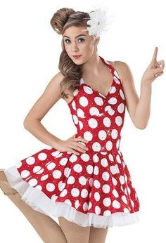 Women Weissman 8292 In The Mood Red Polka Dot Dance Costume Size AM #Weissman