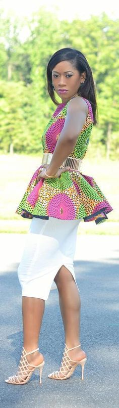 Ankara Peplum Top + Pencil Skirt~ African fashion, Ankara, kitenge, Kente, African prints, Braids, Asoebi, Gele, Nigerian wedding, Ghanaian fashion, African wedding ~DKK