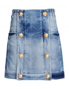 Balmain Distressed Denim Skirt