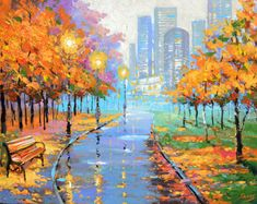 Autumn in the big city - Dmitry Spiros. oil painting, wall art, wall decor, art, decor, room decor, living room decor oil art, oil canvas