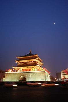 The moon shines bright; My love's snow-white. She looks so cute. Can I be mute?  Xi'an's Bell Tower has been kept in perfect condition.