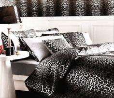 Leopard Bedding in Grey Black & White  6-Piece by MyveraLinen