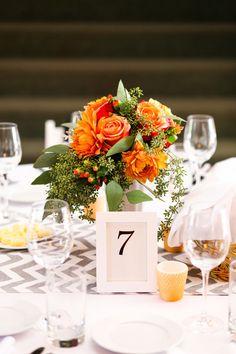 Fall wedding orange flower centerpiece - orange roses, dahlias, hypericum…