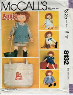 Doll Sewing Pattern -  Little Orphan Annie Doll Clothes & Tote Bag Sewing Pattern With Iron On Transfer - McCalls Crafts 8132