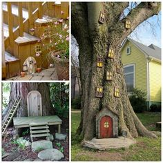 Have you been searching for inspiration for your fairy garden? There are so many fairy garden ideas out there, you will love all of these magical ideas! The tree decoration would look awesome on your big tree out back! Fairy Tree Houses, Fairy Garden Houses, Diy Garden, Gnome Garden, Door Crafts, Fairy Furniture, Colorful Plants, Miniature Fairy Gardens, Amazing Gardens