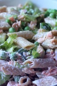 tyrniä ja tyrskyjä: Pasta-lohisalaatti Pasta Salad, Potato Salad, Salads, Potatoes, Chicken, Meat, Ethnic Recipes, Food, Crab Pasta Salad