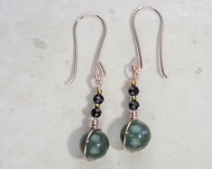 Pretty Green gemstone earrings, rare Black stone, rose gold, 24k gold accents £11.95