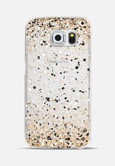 Gold Black White Party Confetti Explosion Galaxy S6 Edge Case by Organic Saturation | Casetify