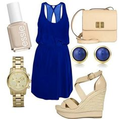 Sky blues fashion dress with nude wedges #summer #spring #dress