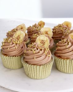Yummy Snacks, Delicious Desserts, Yummy Food, Tasty, Sweet Recipes, Whole Food Recipes, Nutella Cupcakes, Banana Dessert, Cupcake Flavors