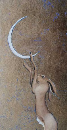 Pulling down the moon, by Jackie Morris -- Watercolour and moongold gold leaf Rabbit Run, Jack Rabbit, Bunny Rabbit, Rabbit Totem, Nocturne, Year Of The Rabbit, Kunst Online, Sun And Stars, Bunny Art