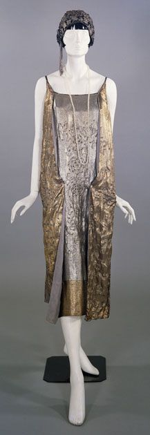 Lamé evening dress, made by Murielle's of Glasgow, about 1924