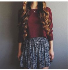 Cute cropped sweater and skirt