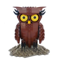 "What kind of questions could you ask a Lego Owl?"" ""Will the Lego Movie be good? Lego Toys, Lego Duplo, Lego Halloween, Lego Sculptures, Lego Boards, Lego Craft, Lego Projects, Animal Projects, Lego Design"