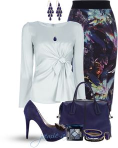 """Bow Detailed Blouse & Floral skirt"" by jaimie-a ❤ liked on Polyvore"