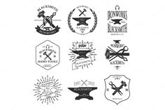 Set of vintage blacksmith labels by idimair on Creative Market