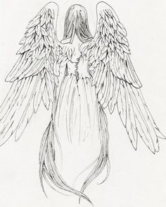 One of the few angels I could find from behind.  I think this is more detailed than I need.  But I like her wings pointing down, she is wearing a dress and her hair is nice here.  The other one I like, her face is in profile but I think I like this better.  Just her hair, parted over her shoulders.