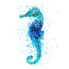 watercolor seahorse in shades of blue and turquoise, marine life, sea life, sea...