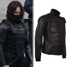 New Captain America Bucky Barnes Sebastian Stan Leather Vest + Jacket BNWT #Unbranded #Motorcycle