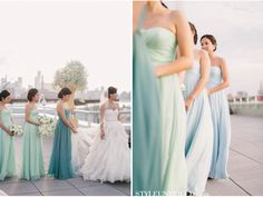 Bridesmaids dresses with Mint Green and Blue Details. Pastel color dresses  wedding dress ideas  Dream Wedding