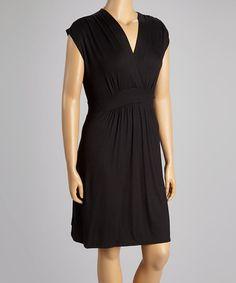 Another great find on #zulily! Black Surplice Sleeveless Dress - Plus #zulilyfinds