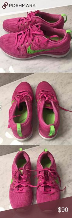 Nike flyknits Women's pink and lime green Nike flyknit Linar1's. Excellent condition! Nike Shoes Athletic Shoes