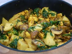 Curry of celeriac, spinach, mushrooms and paneer
