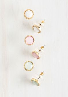 Pastel Perfection Earring Set. When you discover that these dainty pastel earrings complement your whole wardrobe, youll be rushing to share your excitement with fellow fashionistas! #pink #modcloth