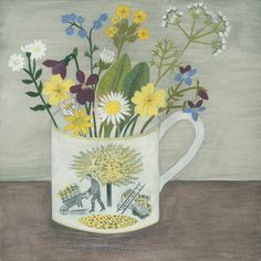 """Ravilious cup and garden flowers' Debbie George www.debbiegeorge.co.uk"