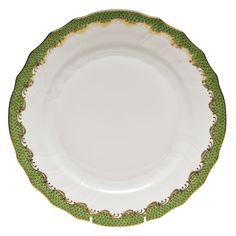 Herend's Fishscale dinner plate in green. Herend dinner plate has a white porcelain body and hand painted designs.