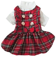 Woo Woo Pets New Arrival Winter Scottish Plaid Pet Skirt White S -- To view further for this item, visit the image link.