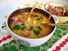 Supa de legume cu bacon afumat Vegetable soup with smoked bacon