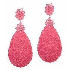 Pendientes Dublos lágrima ancha rosa chicle cristal joblot www.sanci.es
