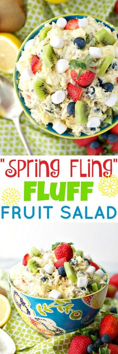 "A spring celebration wouldn't be complete without this ""Spring Fling"" Fluff Fruit Salad! Perfect for bridal showers, baby showers, birthdays, and Easter, it's a bright, fresh, and fun fruit salad that showcases all of the season's best produce!"