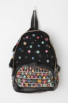 my wish is a backpack for work and travel :) Ecote Embroidered Mirror Tassel Backpack #urbanoutfitters #embellishment #trend