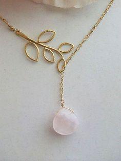 Rempli d'or Quartz rose sautoir collier collier de par AnnTig, $34.95