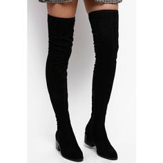 0d9cd9382df Steve Madden Gabbie Over The Knee Boot With Stacked Heel (325 PEN) ❤ liked