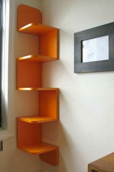 Wall mounted bookshelves designs modern wall bookshelves one modern wall mounted wall mounted shelf ideas Corner Shelf Design, Unique Wall Shelves, Wall Mounted Corner Shelves, Bookshelf Design, Modern Shelving, Corner Shelving, Shelving Units, Book Shelves, Corner Shelves Bedroom