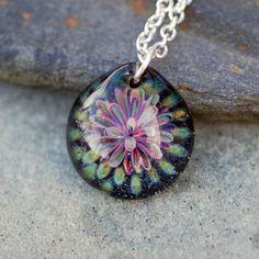 Boro Glass Pendant Flower Borosilicate Lampwork, Handmade Glass Jewelry - Close Up via Etsy