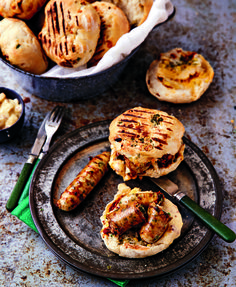 Roosterkoek and sausage is a camp staple. Next time, add some mielies to your dough and serve it with mustard sauce. Braai Recipes, Cooking Recipes, South African Braai, Dessert Recipes, Dinner Recipes, Yummy Recipes, Recipies, Food Dishes, Side Dishes