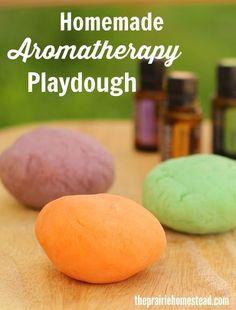 Homemade Playdough with essential oils. Aromatherapy recipes for kids.