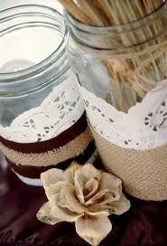 mason jars with burlap