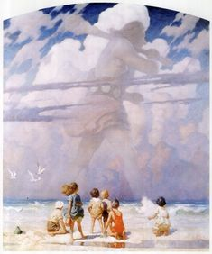 Father of Andrew Wyeth, Grandfather of Jamie Wyeth. (Imagination at the shore) Jamie Wyeth, Andrew Wyeth, Art And Illustration, Food Illustrations, Nc Wyeth, Traditional Paintings, American Artists, Landscape Art, Art Blog