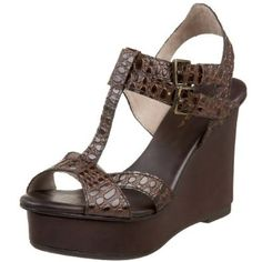 Via Spiga Women's V-Yarick T-Strap Wedge,Chestnut Shiny Croc,10 M US