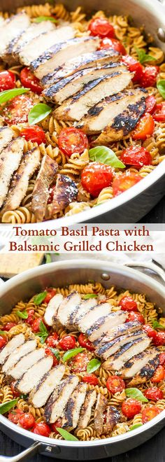Tomato Basil Pasta with Balsamic Grilled Chicken   A lighter pasta dish full of…