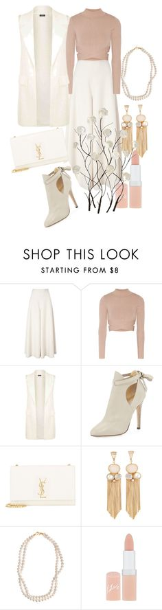 """""""All seasons need all shades of whiteness infused with wealthy gold tones"""" by theschmidttribe on Polyvore featuring Temperley London, Jonathan Simkhai, Jimmy Choo, Yves Saint Laurent, STELLA McCARTNEY, Rimmel and Universal Lighting and Decor"""