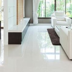 Image result for white floor tiles living room