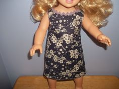 American 18 Inch Doll Clothes Dress purple with off white flowers on it by sue18inchdollclothes on Etsy